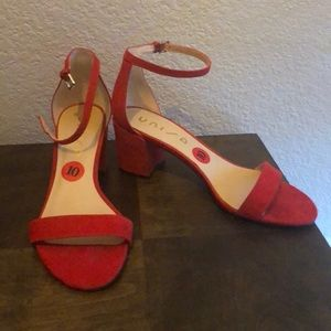 Red strap, low heel sandals. Worn once.